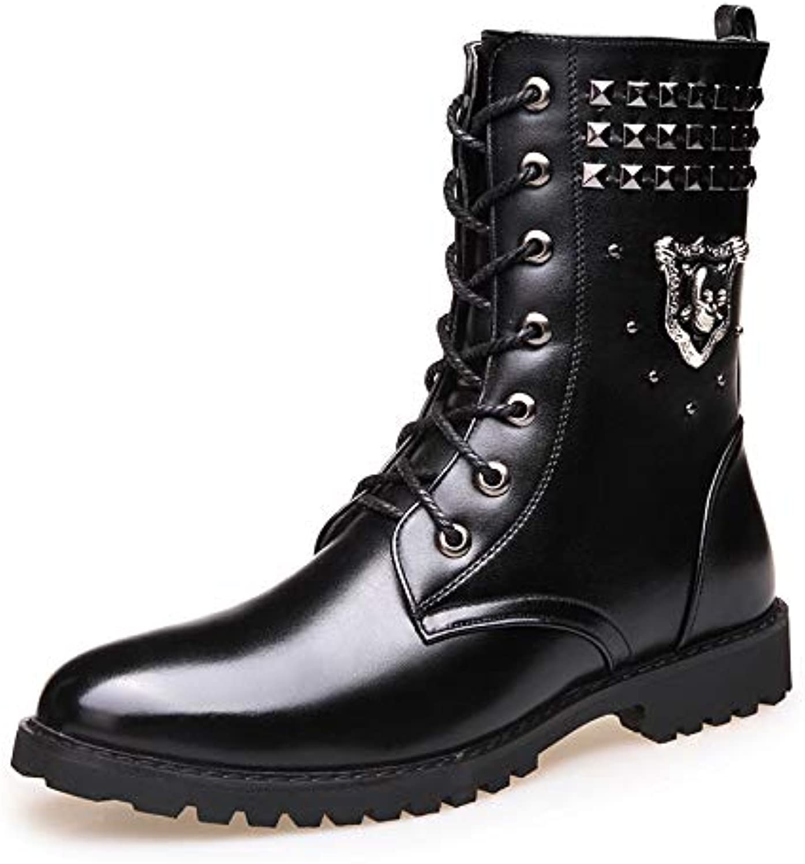 LOVDRAM Stiefel Mnner Herbst Und Winter Stiefel Mnner Casual Baumwolle Stiefel Punk Martin Stiefel Niet Zwei Baumwolle Schuhe Hohe Stiefel Mode Stiefel