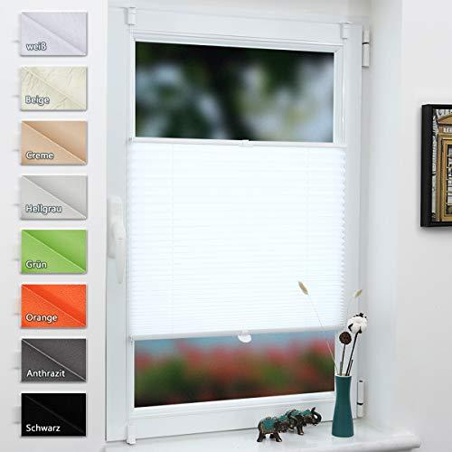 Grandekor Plissee Klemmfix Jalousie ohne Bohren 35x80cm (BxH) Weiß, Faltrollo Plisseerollo Klemmrollo für Fenster & Tür, Fensterrollo Blickdicht Sichtschutz Sonnenschutz