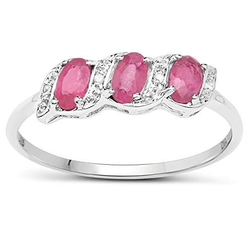 La Colección Diamante de Rubi: Anillo 9ct Oro Blanco de compromiso Eternidad de Rubíes y Diamantes, talla del anillo 25