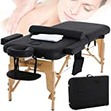 Massage Table Massage Bed Spa Bed Portable Foldable 73 Inch Height Adjustable Salon Bed with Solid Wooden Legs, Half Bolsters Sheets, Carry Case Tattoo Table Facial Bed Hold Up to 450LBS, Black