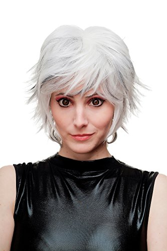 WIG ME UP - SA069-1001H1B perruque ébouriffée courte platine/argent/blanc avec des mèches noires pour femme cosplay
