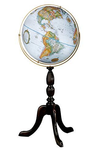 "Replogle Cambridge Black Wood Stand with Blue Ocean World Globe, 16"" Diameter"