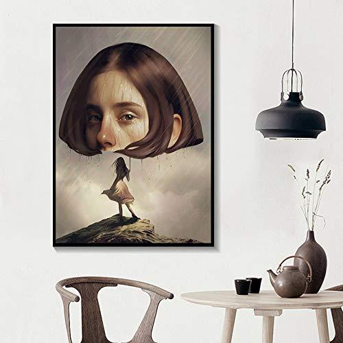 Leinwand Malerei Bilder Wandkunst Drucke Surrealismus Mädchen Poster 1 Panel Home Decor für Schlafzimmer 30x42cmx1pcs