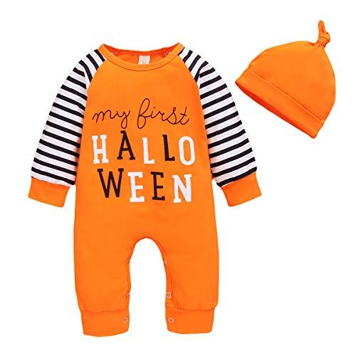 I miei primi abiti di Halloween Neonato Neonato Lettera Stampa pagliaccetto Tuta + Cappello 2 pezzi Set di vestiti Arancione 90 6-12 mesi