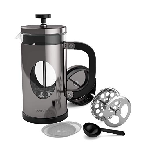 BonVivo GAZETARO I French Press - Design-Kaffeebereiter in Silber-Optik - Kaffeekocher aus Glas mit Edelstahl-Filter – Kaffeekanne 1 Liter (8 Tassen)