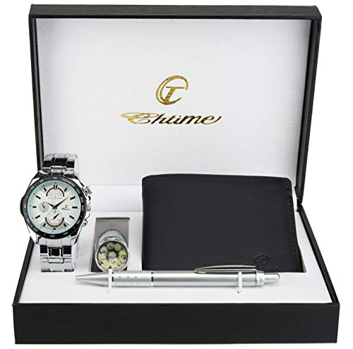 Caja de Regalo Reloj Hombre Blanco- Lámpara LED- Billetera -Bolígrafo