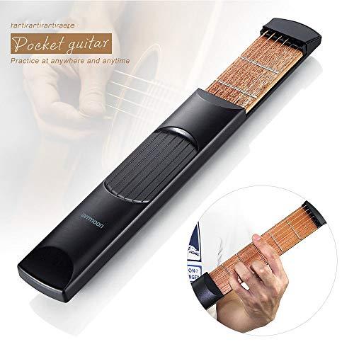 ABMBERTK Tragbare Gitarre, Übungswerkzeuge für Taschengitarren, Akkordtrainer-Werkzeuge für LCD-Musiksaiteninstrumente, für Anfänger, Taschengitarren01