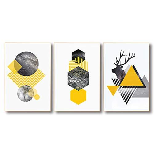 3 piezas de decoración de habitación estética, lienzo, póster de geometría e impresiones, arte minimalista, estilo nórdico, imagen de pared amarilla (40x80cm) sin marco