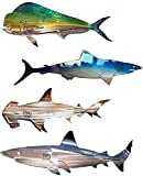 Shark Metal Wall Art Decor, Shark Metal Outdoor Wall Art Hanging Ornament Home Decoration, Nautical Decor Ocean Fish Decoration for Patio or Pool (20inch, 4PC)
