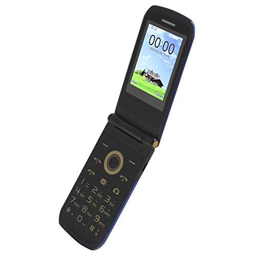 Teléfono abatible con doble modo de espera azul de 2,4 pulgadas, teléfono móvil portátil multilingüe con pantalla de 32 MB + 32 MB 240x320, para teléfono móvil MTK 6261D 100‑240V, fácil operación.(EU)