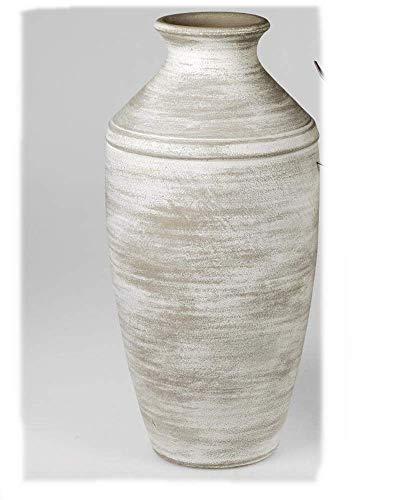 Formano Schwere Bodenvase 23x48cm aus Keramik mit Weiss-glasierter Oberfläche