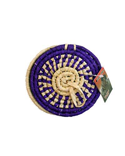 Mexican Beauty Shop Cestas Decorativas pequeñas Tejidas a Mano con Fibra Natural de Hoja de Palmera, decoración sostenible (Morado)
