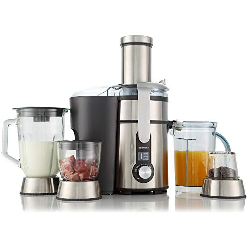 GOTMORE 4 in 1 Large Juicer Machines with Mixing/Micing/Grinding Function, 1300W, 5-Speed, 84mm Wide Mouth Centrifugal Juicers Easy Clean Juice Extractor for Whole Fruit Vegetable, Titanium Filter, Anti-drip, Non-Slip Feet, BPA-Free