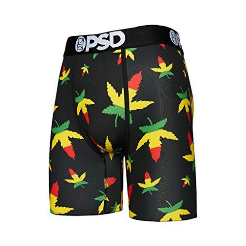 PSD Men's Brief Underwear Bottom (Black/Weed Rasta OG, M)