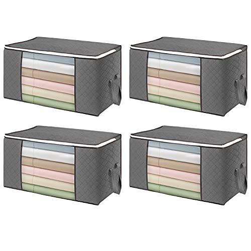 Flintronic 4PCS Bolsa de Almacenamiento de Ropa de Gran Capacidad 84L (60x40x35 cm), Organizador de Transpirable con Cremallera a Prueba de Moho y Humedad para Ropa de Cama, Edredones, Mantas