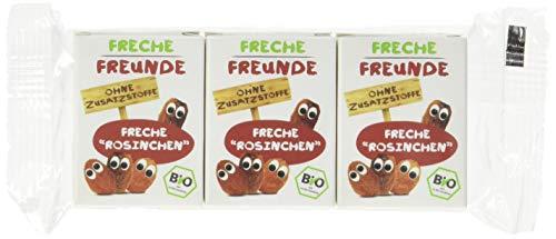 Freche Freunde Bio Rosinen, Trockenfrüchte ohne Zucker, ohne Zusatzstoffe, ungeschwefelt, in kleinen Snackboxen für Kinder, 20er Pack, 20 x (3x14g)