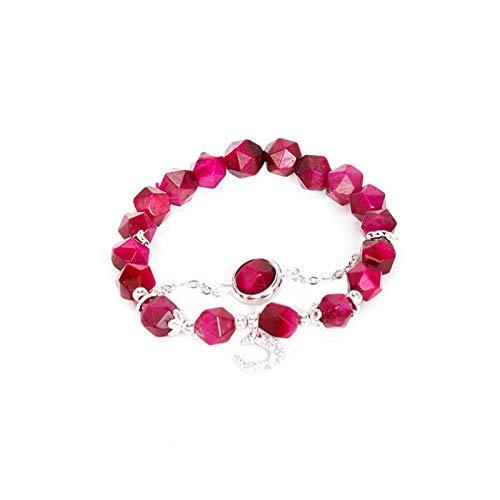 HumoliStore 925 joyería de plata esterlina de la manera, Rose Red Tiger pulsera de la piedra preciosa de ojos, Longitud de la pulsera: 16 cm de circunferencia, cuerda elástico, puede proporcionar rega