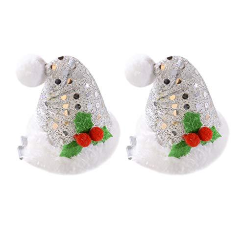 AMOSFUN Weihnachten Glitter weihnachtsmütze haarspangen Mini weihnachtsmütze haarnadel Weihnachten Pailletten haarnadel für mädchen Festival kostüm zubehör (Silber)