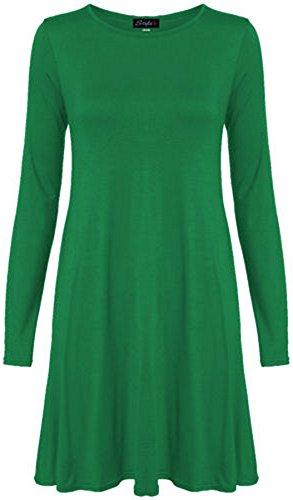 Chocolate Pickle ® Neue Frauen Plus Size Flare Swing-Kleid Langarmshirt Hanky Hem Jersey-Kleid