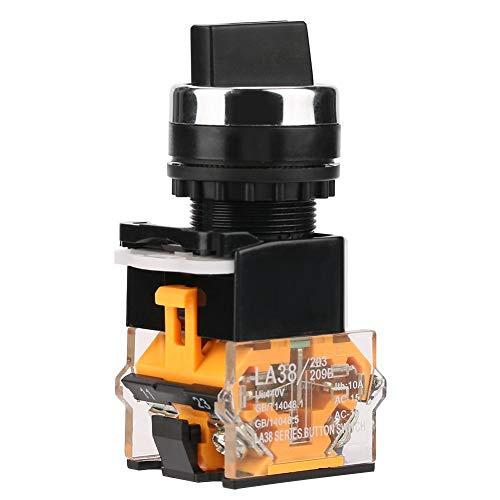Interruptor rotativo momentáneo, LA38-11BX22 22MM Interruptor de botón de manija corta giratoria de reinicio automático de dos velocidades