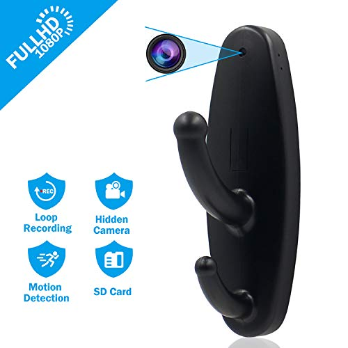 Hidden Camera Clothes Hook Mini Spy Camera HD 1080P Nanny Cam Motion Detection Surveillance Security...