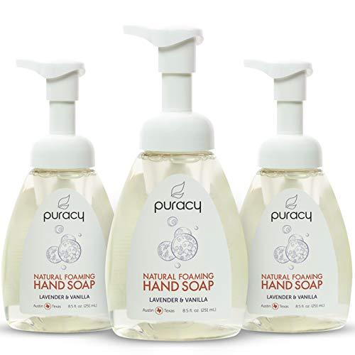 Puracy Natural Foaming Hand Soap, Lavender & Vanilla, Moisturizing Hand Wash, 8.5 Ounce (3-Pack)