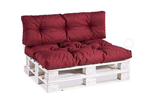 Palettenkissen Palettenauflagen Sitzkissen Rückenlehne Gesteppt PPI (Set (Sitzkissen 120x80 +Rückenlehne 120x40), Bordeauxrot)