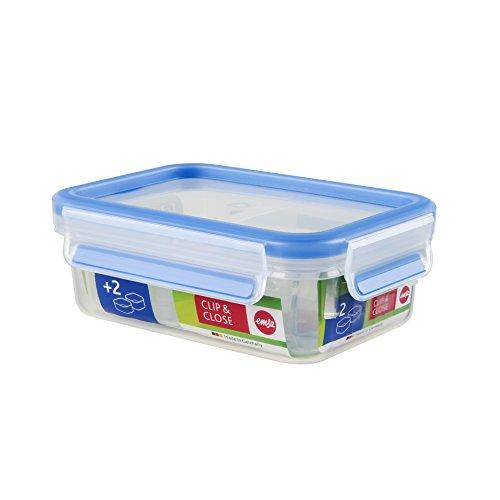 Emsa 512896 Frischhaltedose mit 2 Einsätzen, Volumen 0.55 Liter, Transparent/Blau, Clip & Close