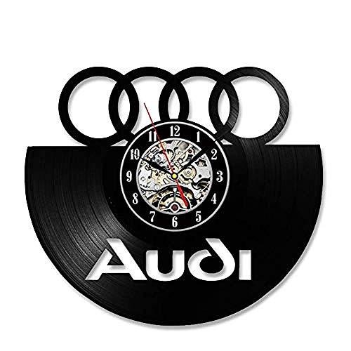 thetobea Vinyl Record Wanduhr Auto Logo Vinyl Record Wanduhr 3D dekorative hängende Vintage Uhr LED Wanduhr Home Decor Geschenk für Auto-Liebhaber @ Audi-no_Led