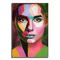 顔のアートの壁の絵、アレクサンダーホフロフとヴァレリヤクサンのキャンバスプリントポスターの装飾、フレームレスによるメイクアップカラフルな顔の油絵と美しい女性の写真,色,40×60cm