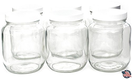 64 ounce HALF GALLON Wide Mouth Clear Mason Jars (6 PACK) with Lids – MADE IN USA – 2 QUART – Used for Canning & Fermenting Kombucha Kefir Yogurt – USDA Approved BPA Free