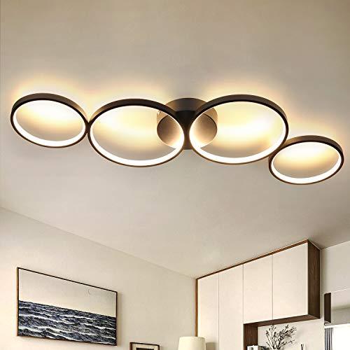 GBLY LED Deckenlampe Modern 4 Flammig in Ringoptik 3000k Warmweiß Deckenleuchte Rund 37W Innen Schwarze Wohnzimmerlampe aus Aluminium für Schlafzimmer Wohnzimmer Flur Büro Arbeitszimmer, 89cm