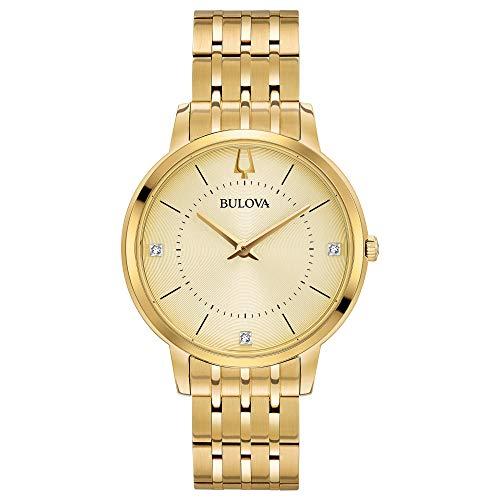 Bulova de acero inoxidable reloj de pulsera en color dorado Classic de mujer con detalles en diamante