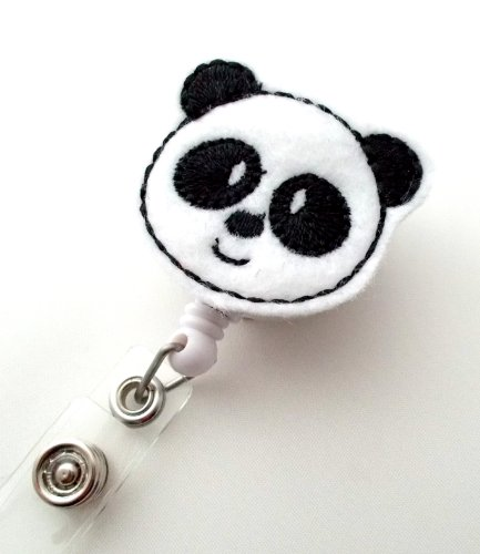 Panda Bear - Retractable ID Badge Reel - Name Badge Holder - Pediatric Badge Reel - Nurse Badge Holder - Nursing Badge - Felt Badge Photo #2