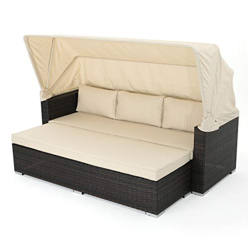 Christopher Knight Home Glaros Outdoor Aluminum Framed Wicker Sofa/Daybed with Water Resistant Canopy and Cushions, Multibrown / Beige