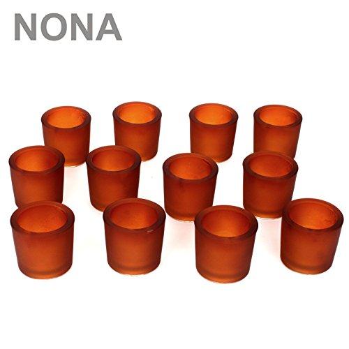 NoNa 12er Set 6 cm Teelichtglas Glas Orange Terrakotta Kerzenglas Windlicht Kerzengläser