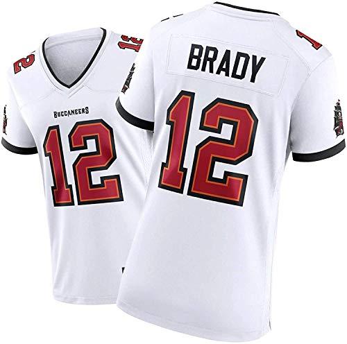 Tom Brady Jersey Frauen American Football-Shirt, Stickerei, Fan-Versions-T-Shirt 3 Farben zur Auswahl-Spieler-Jersey (Color : White, Size : XS)