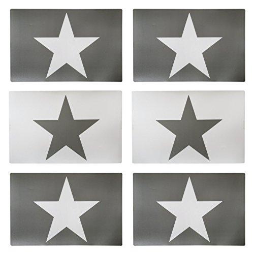 6er Set Tischset grau Stern weiß 4 x grau 2 x weiß Platzmatte Unterlage Star