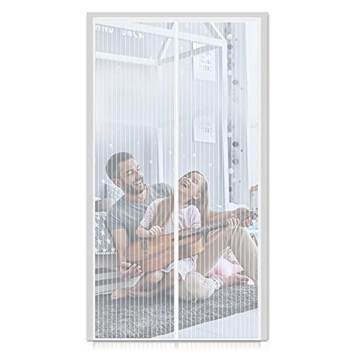 FORTRY Magnet Fliegengitter Tür 90x210CM Insektenschutz Magnetischer Fliegenvorhang,für Balkontür, Wohnzimmer, Kellertür und Terrassentür, Kinderleichte Klebemontage Ohne Bohren,Weiß