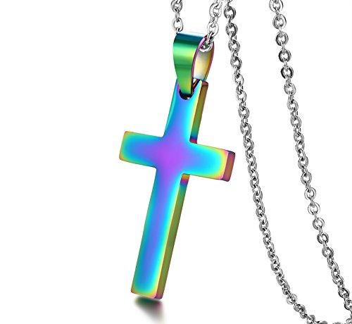 VNOX Herren Regenbogen Plattiert Edelstahl Einfache Kreuz Anhänger Halskette mit 50 cm O Link Panzerkette