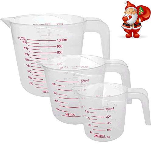 JoGoi 3 Pezzi Misurino Graduati Cup Plastica 1000 ml 500 ml 250 ml Dosatore Misuratore Liquidi Laboratorio Beaker