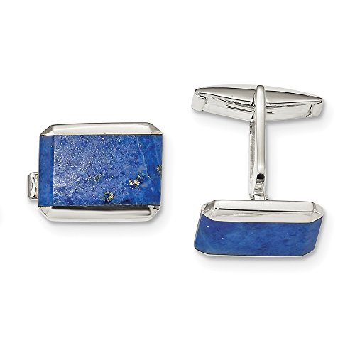925 Sterling Silver Rectangle Lapis Cuff Links Mens Cufflinks Link Man Fine Jewelry For Dad Mens Gifts For Him