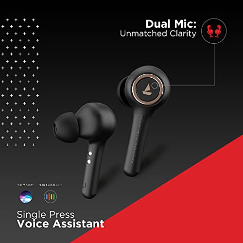 boAt Airdopes 511V2 TWS Ear-Buds with IWP Technology, Ergonomic Never Drop Design, Classy Build, Bluetooth V5.0, Up to 30H Total Playback, IPX4, Dual Microphones and Immersive Sound(Black)