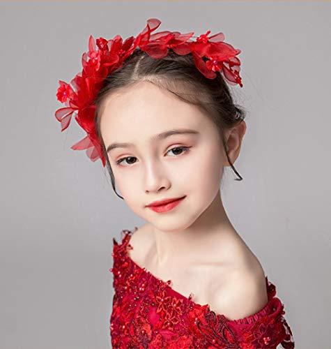 Kinderen Kroon Tiara Prinses Meisjes Kroon Kristal Groot Haar Hoop rode Hoofd Bloem Accessoires Kinderen Verjaardag Haaraccessoires