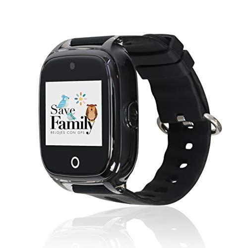 Reloj con GPS para niños Save Family Modelo Superior Acuático con Cámara Negro Mate. Smartwatch con botón SOS, Permite Llamadas y Mensajes. Resistente al Agua Ip67. App Propia SaveFamily