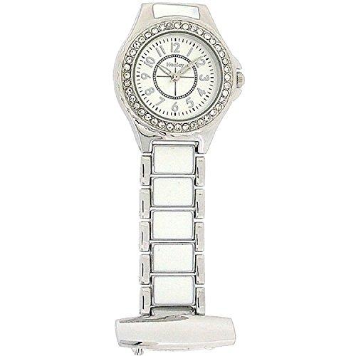 Henley Damen-Taschenuhr Henley Ladies Diamante Fashion Fob Watch. Analog Edelstahl beschichtet Silber HF06.1