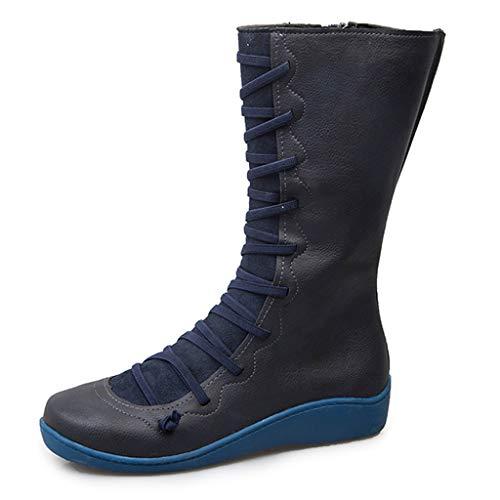 WUSIKY Stiefeletten Damen Bootsschuhe Boots Geschenk für Frauen Damen beiläufige Flache lederne Retro Schnür seitliche Reißverschluss runde Zehe Schuh Aufladungen (Blau, 38 EU)