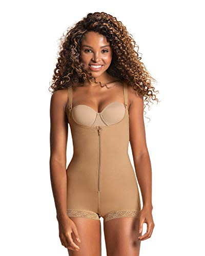 Leonisa Women's Slimming Braless Firm Tummy Compression Body Shaper in Boyshort with Rear Lift,Beige,X-Large