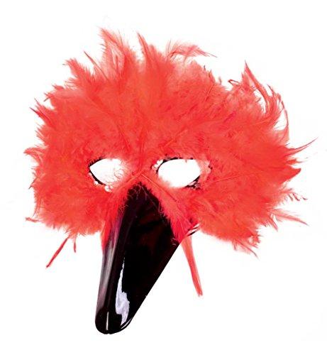 Federdomino rot Karneval Augenmaske Federmaske Vogelmaske Karnevalszubehör Zauberwelt Vogel Gesichtsmaske MaskeradeFasching Mottoparty