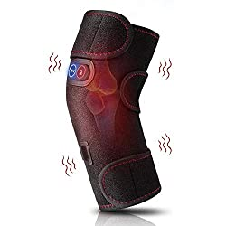 Heated and Vibration Massage Knee Brace Wrap, Physiotherapy Massager Heating with 2 Vibration Motors for Knee Injury, Cramps Arthritis Recovery, Massager for Muscles Pain Relief